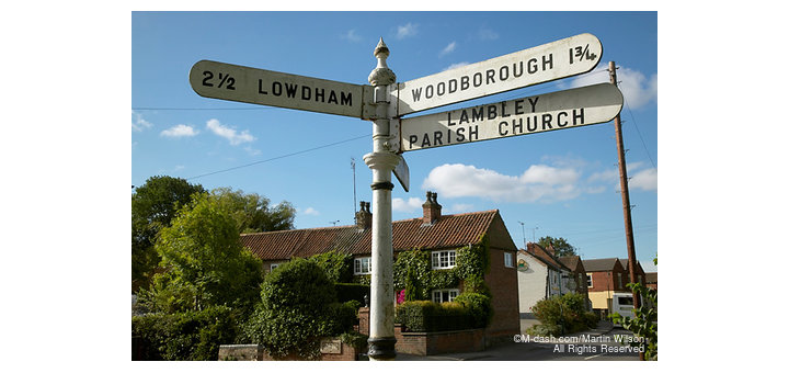 Lambley, finger post road sign