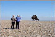 "Tourism,  appreciating ""Scallop"", Aldeburgh, Suffolk, England"
